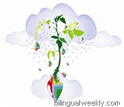 illustration of rain and baby tomatoe plant
