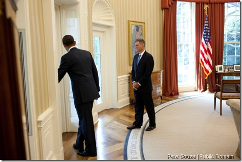 President Barack Obama and Alan Krueger leave the Oval Office before a statement in the Rose Garden of the White House, Aug. 29, 2011. The President announced Krueger as his nominee to lead the Council of Economic Advisers. (Official White House Photo by Pete Souza)