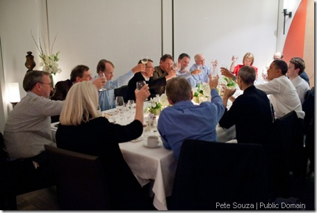 "Feb. 17, 2011 ""The President joins a toast with technology business leaders at a dinner in Woodside, Calif. Among those attending were the late Steve Jobs, to the President's left, and Facebook founder Mark Zuckerberg, to the President's right."" (Official White House Photo by Pete Souza)"